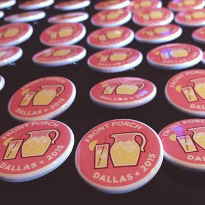 Plenty of conference buttons for attendees.